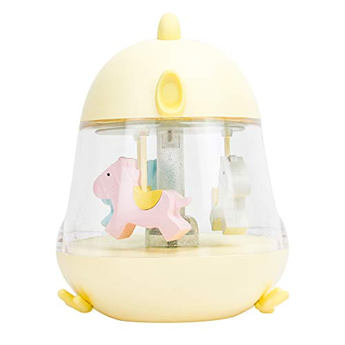 WHATOOK Lovely Chick Music Box Light Carousel Musical Toys for Children Creative Gifts Birthday, Holiday Present Home Art Decoration(Yellow Carousel) (Carousel Light)