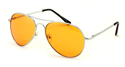 Vision World Eyewear - Colorful Silver Metal Aviator With Color Lens Sunglasses (Orange ()