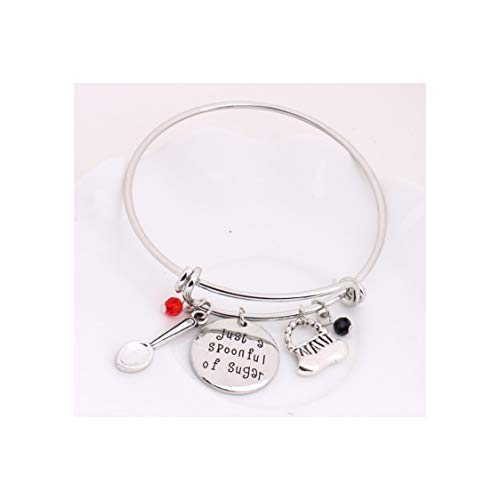 Mary Poppins Message Charm Expandable Wire Bangle Bracelet Just A Spoonful of Sugar Pendant with Crystals Handbag Spoon Charms Adjustable -
