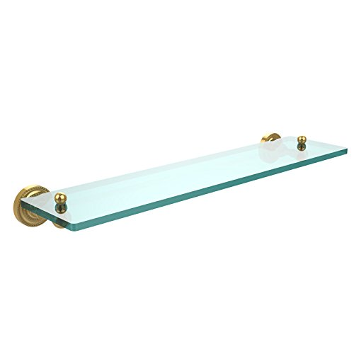 Allied Brass DT-1/22-PB Dottingham Collection 22 inch Glass Vanity Shelf with Beveled Edges, 22-Inch, Polished Brass