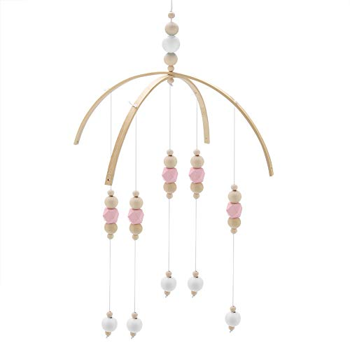 (Zerodis Wooden Beads Wind Chimes Nordic Style Kids Room Bed Hanging Decor Handmade Nursery Mobile Crib Bed Bell Photography Props Gifts(Pink White))