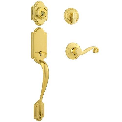 Kwikset 98001-096 Signatures Arlington SmartKey Handleset with Lido Interior Lever, Lifetime Polished Brass