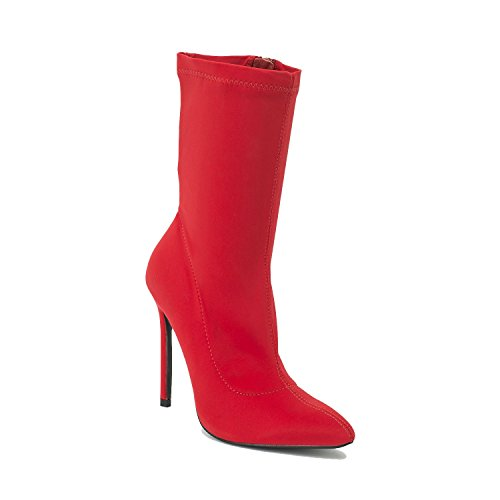 Heel Fashion Lycra Ladies Pointed Boots Autumn Ankle Stretch Shoesdays Red Winter Toe Sock High 5qIdwqXv