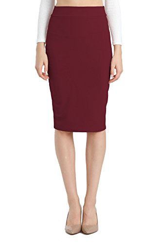 NBU Women Elastic Waist Band Stretchy Fabric Pencil Skirt (Medium, Baned_Ponte_Burgundy)