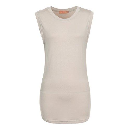 l Basic Sleeveless T-Shirts Crewneck (A72L01-BEIGE-XL) ()
