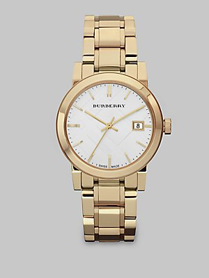 Burberry Watch, Women's Swiss Gold-Tone Stainless Steel Bracelet 34mm BU9103