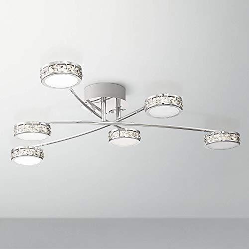 "Tambourine Modern Ceiling Light Flush Mount Fixture LED Chrome 33"" Wide 6-Light Crystal White Glass for Bedroom Kitchen Living Room Hallway Bathroom - Possini Euro Design"