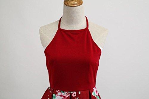 a floreale vita Fami alta Hepburn Rosso senza fiori vintage Abito bottoni con vintage maniche a YxHXpwH