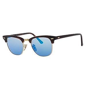 Ray-Ban CLUBMASTER - SAND HAVANA/GOLD Frame GREY MIRROR BLUE Lenses 51mm Non-Polarized