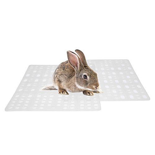 Niteangel 2 Pieces Rabbit Playpen Feet Mats for Cage, Comes with 4 Fixed Tabs (White)