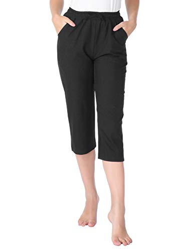 CHICIRIS Womens Ultra Soft Comfy Relaxed Flowy Fit Skinny Cargo Capri Pants Black Size XL ()