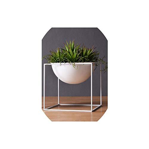 (Black White Metal Flower Planters with Iron Shelf Succulent Plant Pot Home Garden Decorative Flower Vase Without Plants,White)