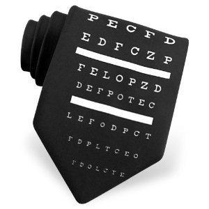 Eye Chart Tie by Ralph Marlin Ties - Black Polyester Polyester Eye