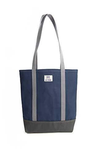 Cotton Boat Tote - Travel Office Open Tote Bag Heavy Weight Cotton Canvas Go Verk (Medium, Navy Blue / Charcoal Grey / Grey)