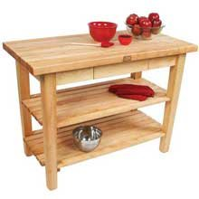 John Boos Cream Finish Maple Country Work Table with Towel Rack, 48 x 24 x 1.75 inch -- 1 each. by John Boos (Image #1)
