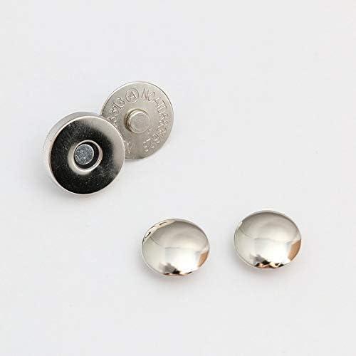 両面カシメ式 マグネットホック マグネットボタン レザークラフト 材料 金具 10組セット (14mm, シルバー)