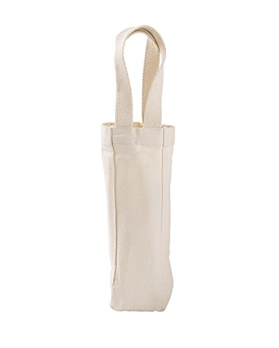 - Liberty Bags Cotton Single Bottle Wine Tote, Natural, One Size