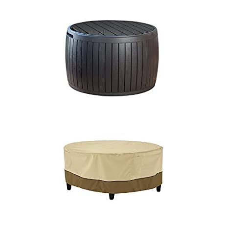 Keter 230897 37 Gallon Circa Natural Wood Style Round Outdoor Storage Table D