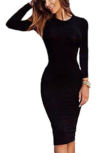 La Mujer Casual Long Sleeve Scoop Cuello Delgado Vestido Bodycon MIDI Solido Black