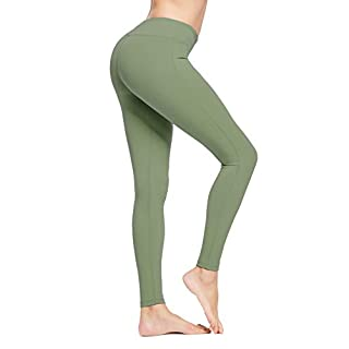 BALEAF Women's Ankle Legging Athletic Yoga Hiking Workout Running Pants Inner Pocket Non See-Through Olive Green Size XXXL