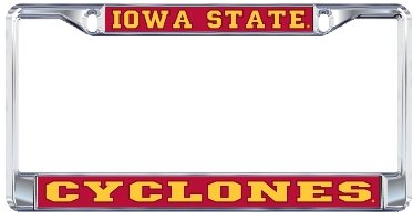 (IOWA STATE CYCLONES Chrome Metal License Plate Tag)