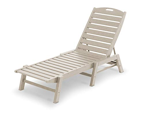 POLYWOOD NAC2280SA Nautical Chaise - Stackable, Sand (Chairs Commercial Chaise Lounge)