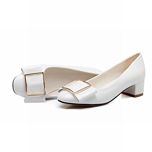 Carol Shoes Grace Womens Bows Fashion Charms Chunky Mid Heel Dress Pumps Shoes Bianco