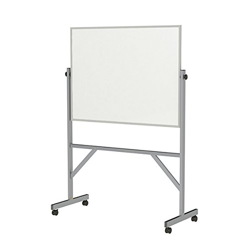 Ghent 3' X 4' School Office Classroom Presentation Aluminum Frame Reversible Free Standing Double-Sided Melamine Marker Board by Ghent