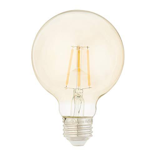 AmazonBasics 40 Watt Equivalent, Clear, Amber, Dimmable, G25 LED Light Bulb | 6-Pack