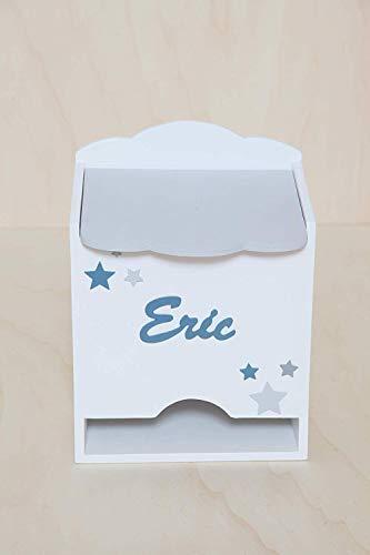 Caja para pañales personalizada hecha a mano. Fabricada en madera. Regalo para bebe y