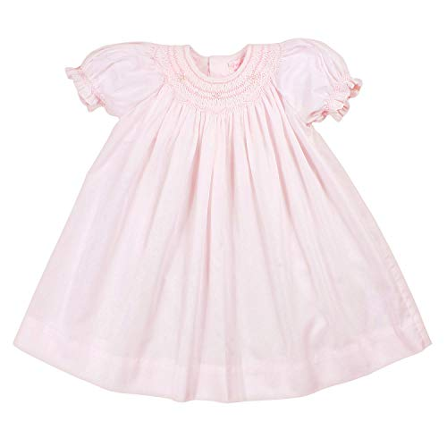 Petit Ami Baby Girls' Bishop Smocked Daygown with Pearls, 12 Months, Pink (Dress Bishop Birthday)