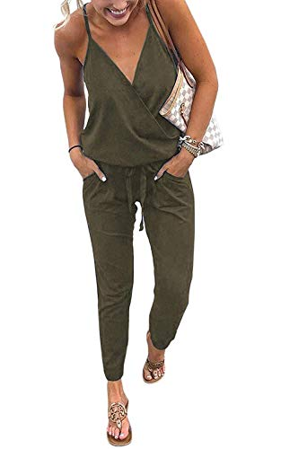QUEENIE VISCONTI Women's Sexy V Neck Backless Spaghetti Strap Casual Jumpsuits Rompers with Pockets Army M