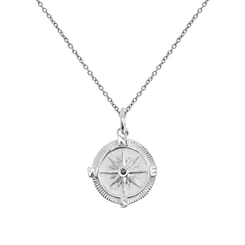 Sterling Silver Point The Way Black Diamond Compass Pendant Necklace, 18