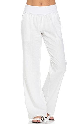 (Poplooks Women's Comfy Fold Over Linen Pants (Medium, White))