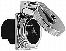 (Hubbell 30 Amp 125V Stainless Steel Round Shore Power Inlet)