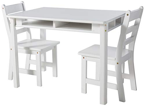 Lipper International 534W Child's Rectangular Table with Shelves and 2 Chairs, White