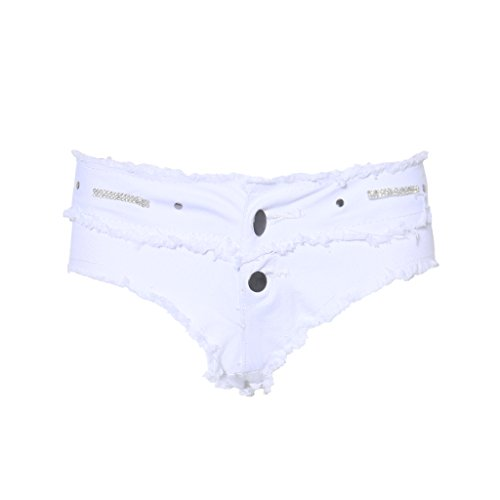 Price comparison product image Xu Jieteenager Sexy Tassel Denim Booty Micro Mini Shorts Cute Bikini Sexy Jeans Low Rise Erotic Clubwear (S, White)