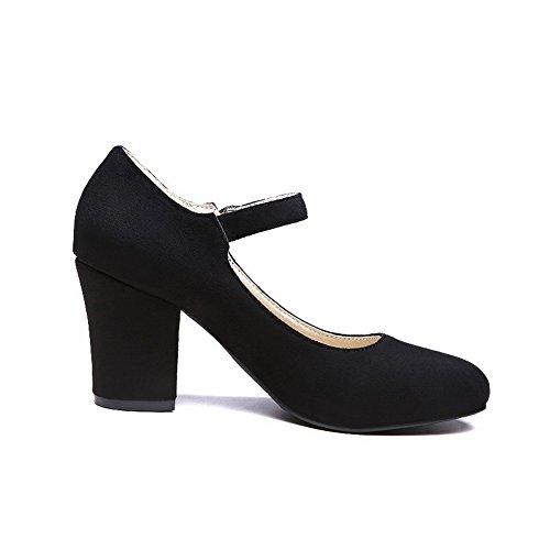 Damen Schnalle Nubukleder Spitz Zehe Hoher Absatz Rein Pumps Schuhe, Rot, 39 VogueZone009