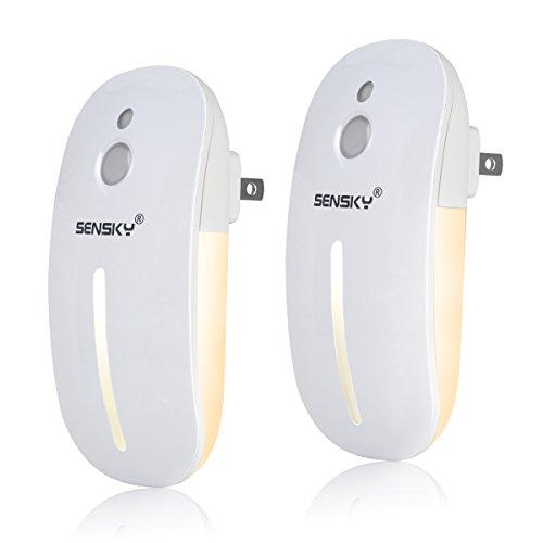 Led Adjustable Night Light - Sensky Plug in LED Night Light with Light Sensor, Brightness Adjustable Soft Warm White Nightlight for Bathroom, Kitchen, Hallway, Stairs, Garages, 2-Pack