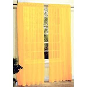 Bright Yellow Sheer Curtain Panels Home Kitchen