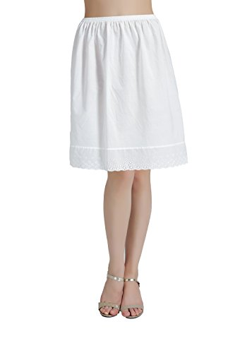 (BEAUTELICATE Half Slip Skirt Extender with Lace Embroidery 100% Cotton Vintage Underskirt Ivory 20