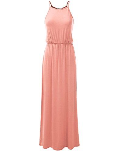 Awdmd0229 Waist NINEXIS Womens Pleated Neck Sleeveless Side peach Dress Maxi Halter Slit qvpw7xUv