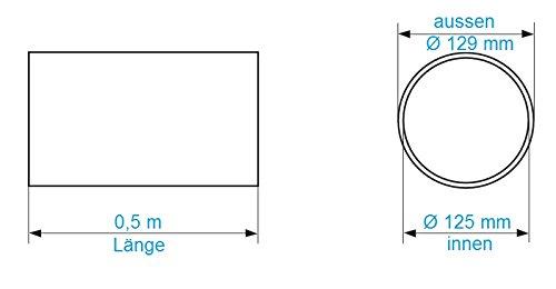 Tuyau da/ération /Ø 125/mm Longueur 0,5/m en ABS plastique rond Tube rond Canal abluft Tuyau abluft canaux Hotte canaux /Ø 12,5/cm et longueur 50/cm Tube rond de Syst/ème