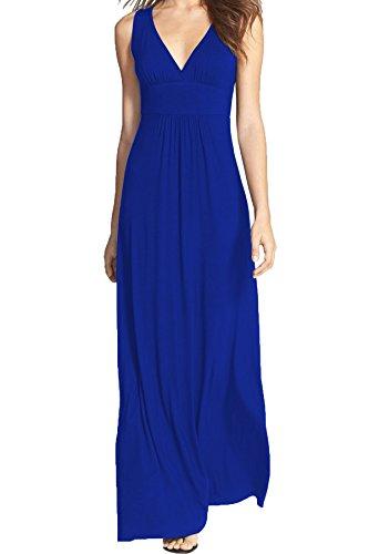 WOOSEA Women Sleeveless Deep V Neck Loose Plain Long Maxi Casual Dress (Blue, Large)