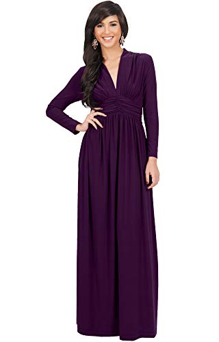 KOH KOH Plus Size Womens Long Sleeve Sleeves Vintage V-Neck Autumn Fall Winter Formal Evening Casual Flowy Maternity Abaya Muslim Islamic Cute Gown Gowns Maxi Dresses, Purple 3XL 22-24
