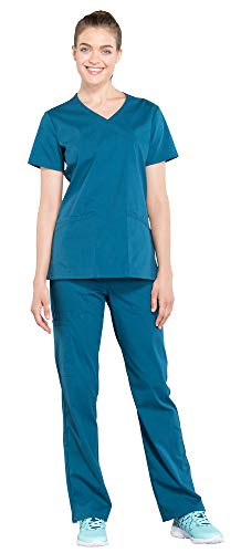 Cherokee Workwear Professionals Women's Mock Wrap Scrub Top WW655 & Women's Drawstring Scrub Pants WW160 Medical Uniforms Scrub Set (Caribbean Blue - Small)