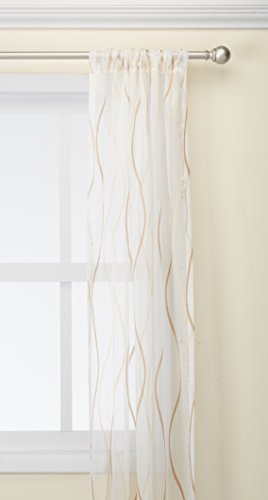 Pureaqu Striped Pattern Sheer Curtains Window Treatment Classic Voile/Tulle/ Panels for Living Room Sliding Glass Door Rod Pocket Process 1Panel W39xH84