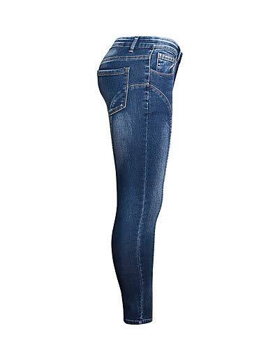 Femme et pour Couleur Jeans Blue Pantalon Noir Basic Unie YFLTZ Blanc Gland qwI7pR