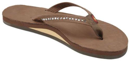 Rainbow Sandals Women's Single Layer Premier Leather w/Swarovski Crystal Narrow Strap, Dark Brown, Ladies Large / 7.5-8.5 B(M) US