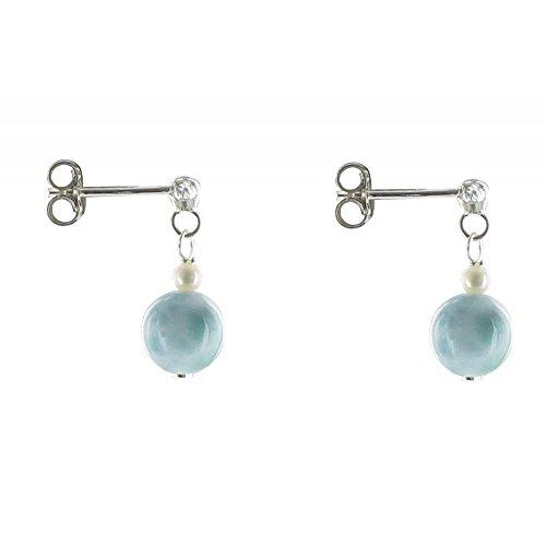 Les Poulettes Bijoux - V Boucles d'Oreilles Argent Perle de Culture et Larimar